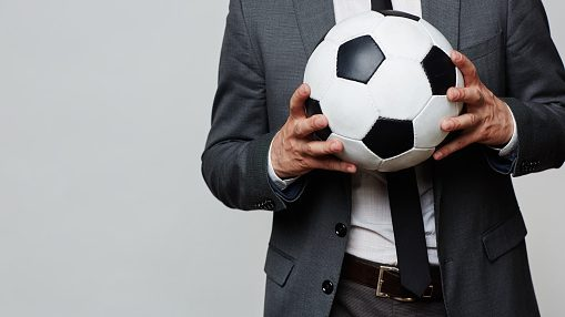 Soccer ball in hands